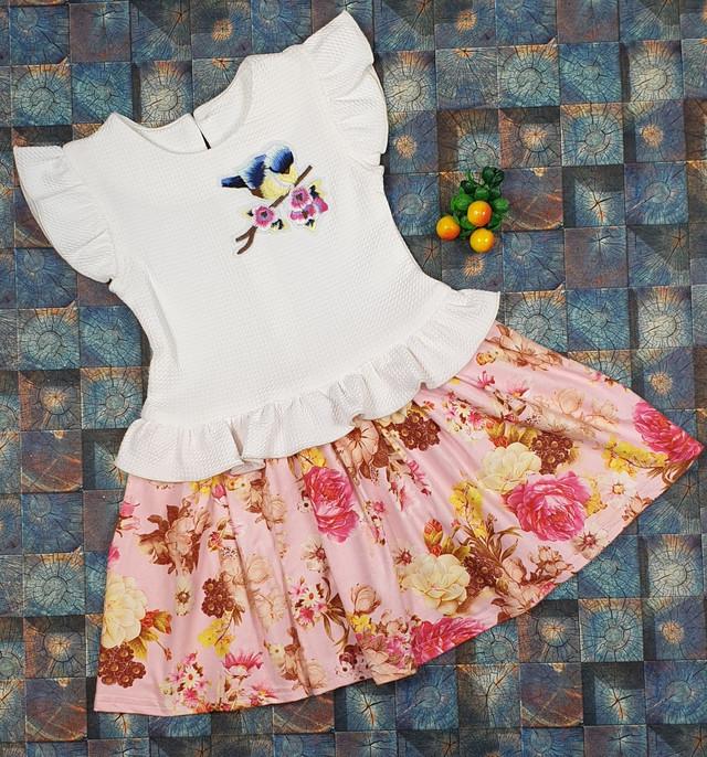 Детское платье Тюльпанчик р.104-122 белый+розовый , фото 1