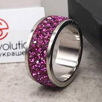 Кольцо с кристаллами Swarovski Фуксия 15-20 р 102682