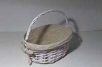 Пасхальная корзинка овальная со складной ручкой - цвет белый