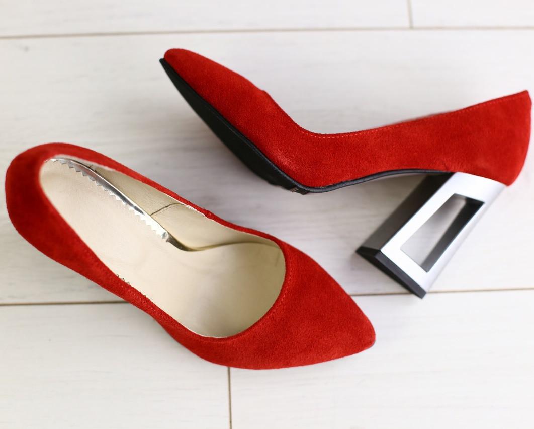 83f17a62b ... Модные женские замшевые туфли на устойчивом широком каблуке красные  2019 GS58T09IR, ...