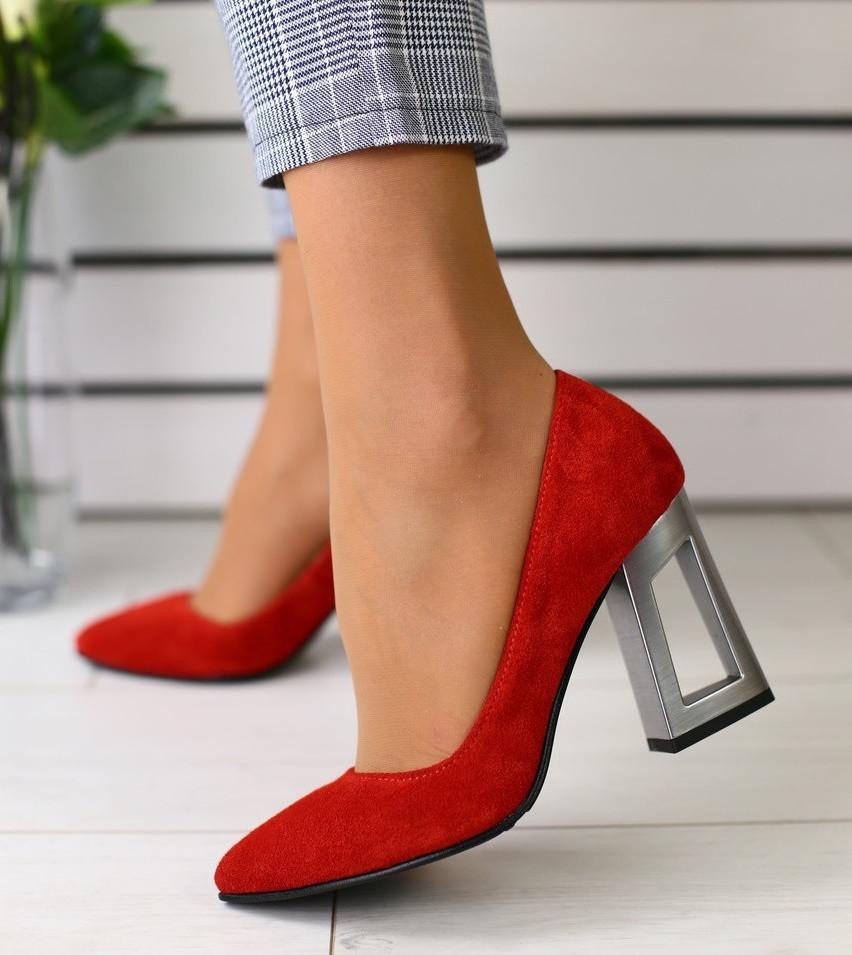 5e0a4598b Модные женские замшевые туфли на устойчивом широком каблуке красные 2019  GS58T09IR
