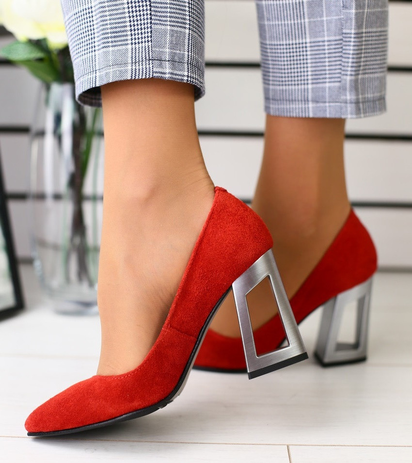 f31c3b70e Модные женские замшевые туфли на устойчивом широком каблуке красные 2019  GS58T09IR, ...
