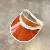 Женский летний прозрачный козырек оранжевый, фото 1