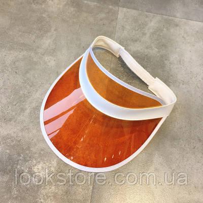 Женский летний прозрачный козырек оранжевый