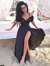 Летнее платье с запахом - 438719-1 черный ( 3 цвета)   размер 42-46 (мш)