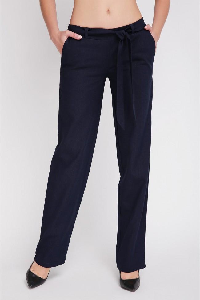Свободные женские летние льняные брюки средняя посадка с поясом, синие