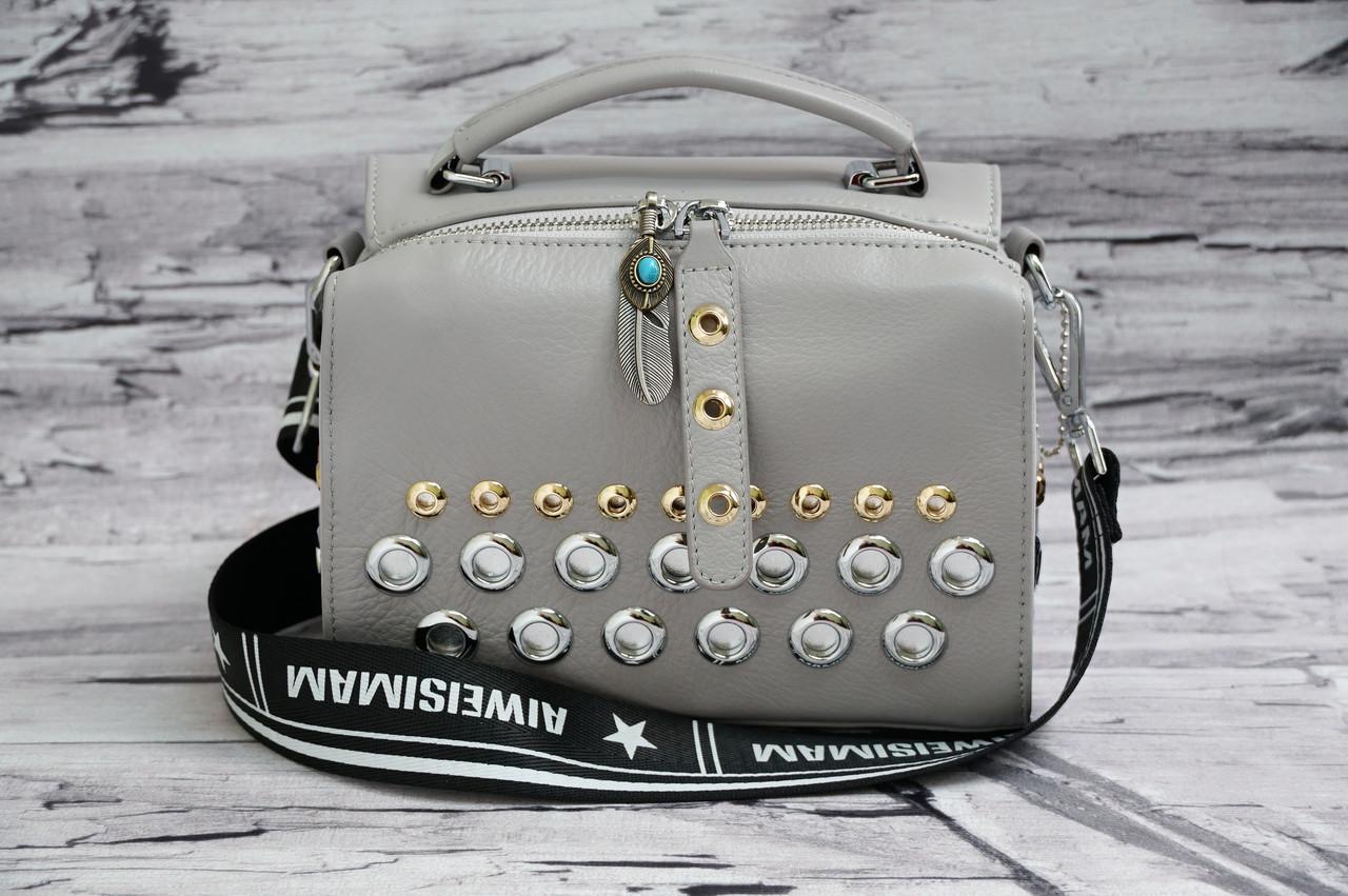 Модный клатч с кольцами из матовой кожи 8959 grey. Реплика