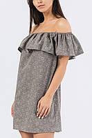 Женское Платье летнее с открытыми плечами (Серый)