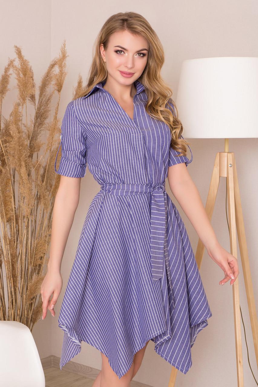 Трикотажное платье с поясом в полоску