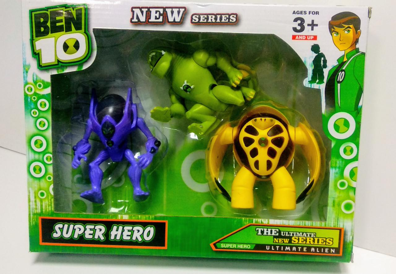 Набор супергероев Бен 10 Омниверс из 3 шт со световым эффектом, 12 см - Superhero, Ben 10, Omniverse, Bandai