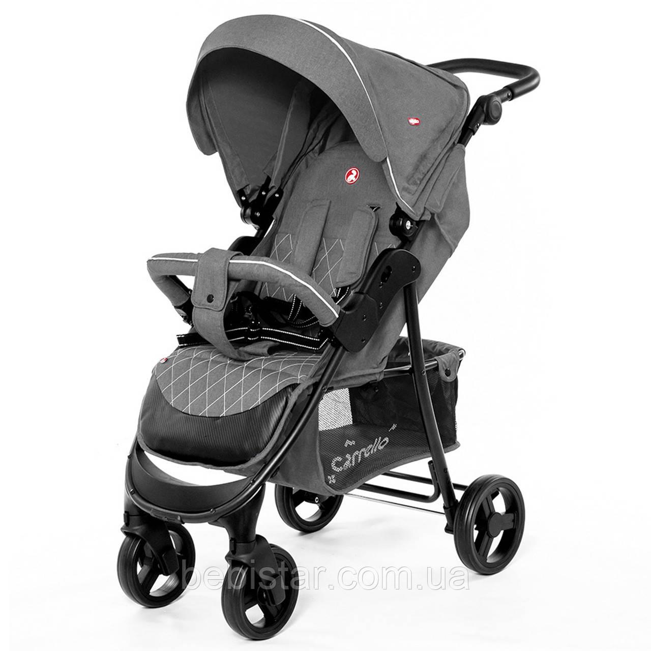 Детская прогулочная коляска с дождевиком серая, черная рама CARRELLO Quattro Len CRL-8502 Shark Grey в льне
