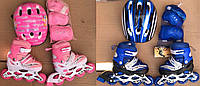 Роликовые коньки Maraton Combo 2 вида, синий, розовый, с защитой, 28-33, 34-37