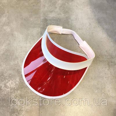 Женский летний прозрачный козырек красный