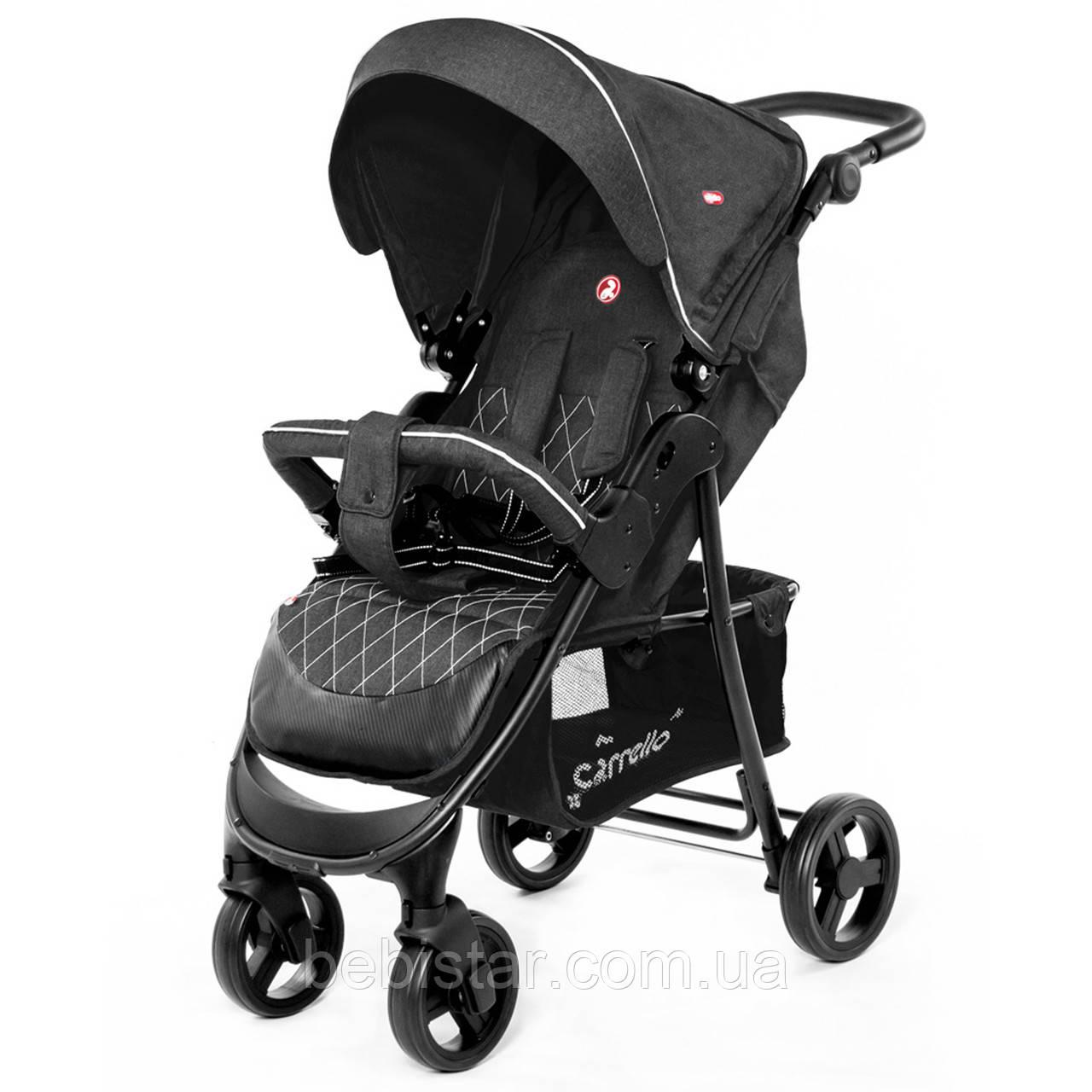 Детская прогулочная коляска дождевик темно-серая, черная рама CARRELLO Quattro Len CRL-8502 Shadow Grey в льне