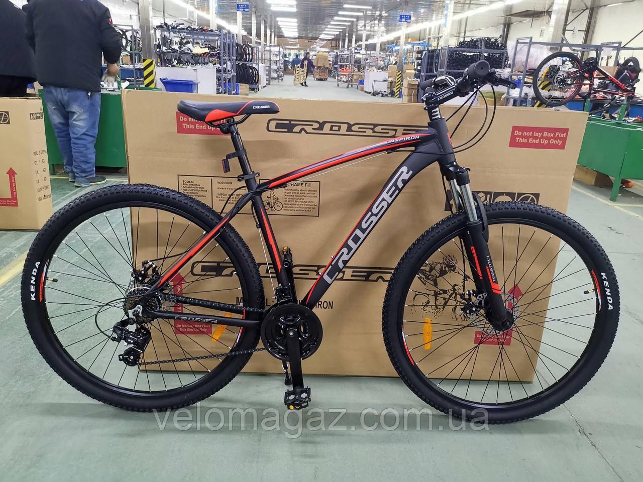 """Велосипед Crosser Inspiron 29"""" рама 19"""" черно-красный, горный алюминиевый"""