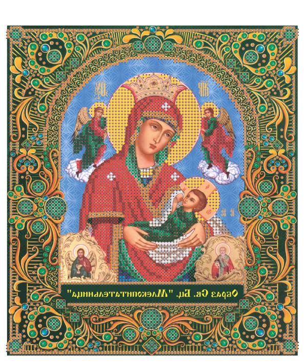 Схема для частичной зашивки бисером  - Икона Божией Матери, именуемая «Млекопитательница»