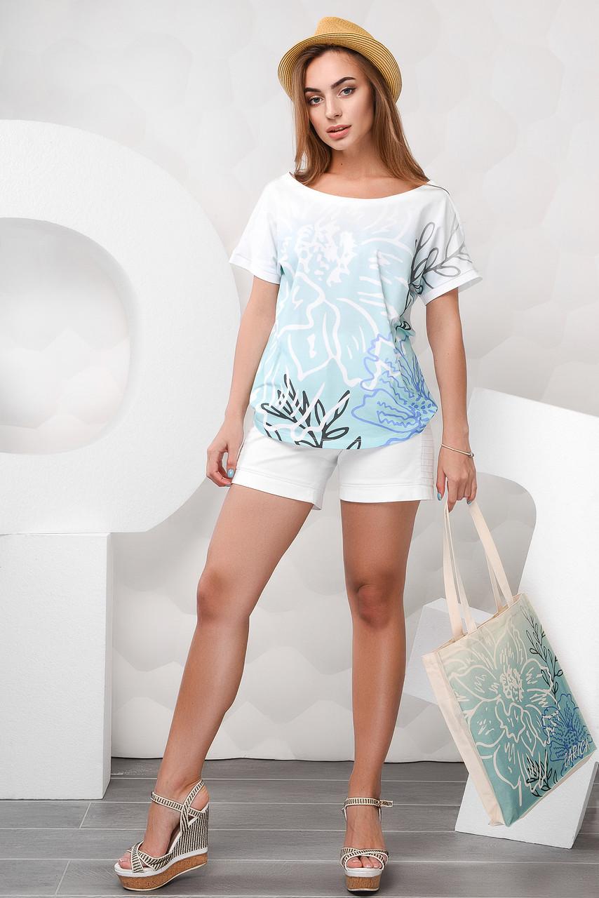 a984c36c2457f Модная Футболка женская с принтом из шифона(Белый), цена 482 грн ...