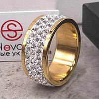 Позолоченное кольцо Swarovski с белыми кристаллами 15-20 р 102708