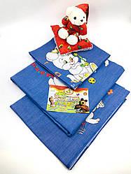 """Детский комплект в кроватку из Ранфорса 110х140 """"Зайчики на голубом фоне"""""""