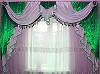 Ламбрекен из атласа на карниз 2.5м. №38 Зеленый