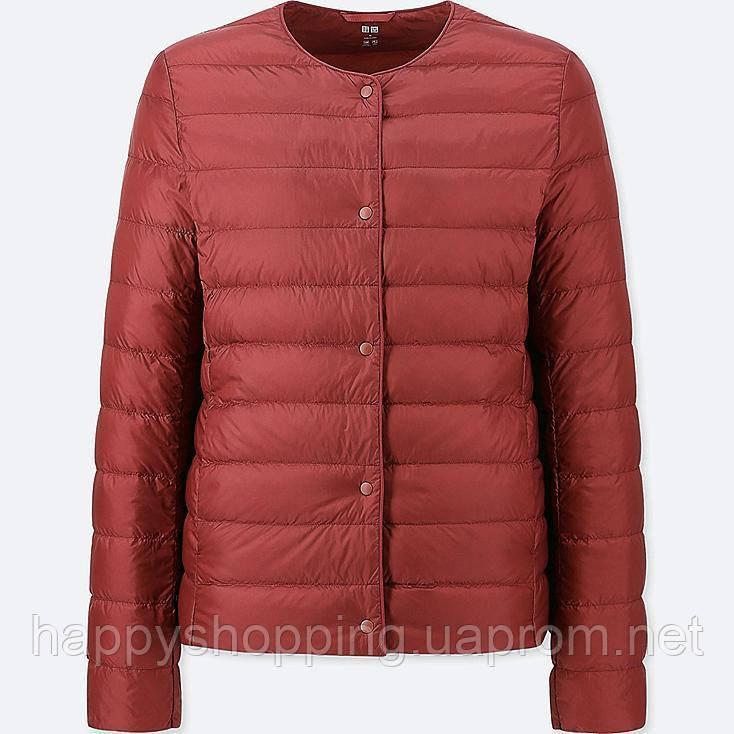 Женская темно-красная ультралегкая куртка на пуху Uniqlo
