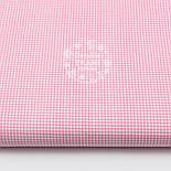 Отрез ткани с бело-розовой клеточкой 2 мм №1581, размер 60*160, фото 2