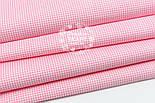 Отрез ткани с бело-розовой клеточкой 2 мм №1581, размер 60*160, фото 6