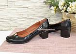 Женские кожаные туфли на невысоком каблуке классического пошива., фото 3