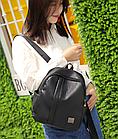 Рюкзак женский чёрный PU кожзам. 24 см - 29 см. - 12 см., фото 2