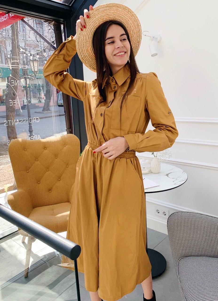 Длинное коттоновое платье-рубашка