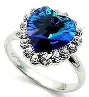 """Кольцо """"Сердце океана"""" темно-синий  цвет"""