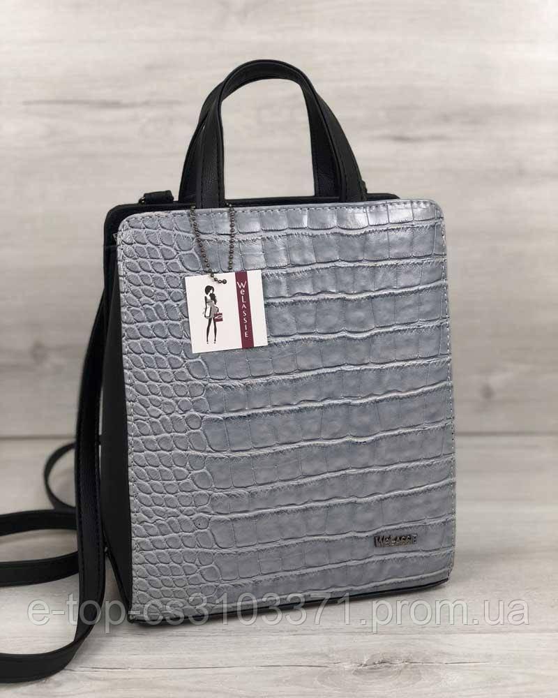 c6d573927566 Молодежный каркасный сумка-рюкзак черного цвета со вставкой серый крокодил  - Интернет-магазин Market