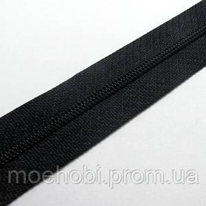 Молния рулонная на метраж Т3 (спираль) черный, Рулоны 5м / 25м артикул  1302