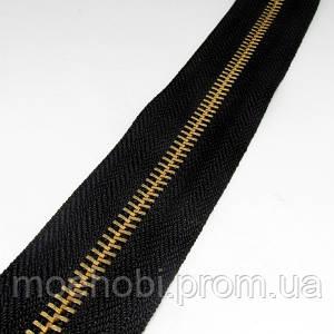 Молния Металл №5 Руллон 5 метров Черная  зубья Золото фурнитура для сумок Сумочная 1694