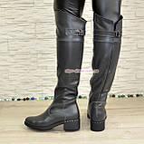 Ботфорты кожаные женские демисезонные на каблуке, серого цвета., фото 2
