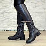 Ботфорты кожаные женские демисезонные на каблуке, серого цвета., фото 3