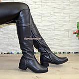 Ботфорты кожаные женские демисезонные на каблуке, серого цвета., фото 4