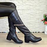 Ботфорты кожаные женские демисезонные на каблуке, серого цвета., фото 5