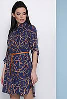 b6bd29591e4 Легкое молодежное платье-рубашка с поясом в модный принт Ремешки-цепи  Аврора П д