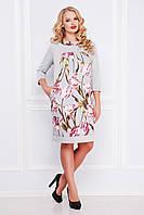 Красивое трикотажное платье по колено с цветами большого размера Тюльпан Матильда-Б д/р светло-серое