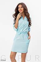 Платье рубашка с застежкой-паты на рукавах голубое
