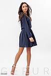 Короткое платье-рубашка с оборками на плечах синее, фото 2