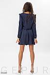 Короткое платье-рубашка с оборками на плечах синее, фото 3