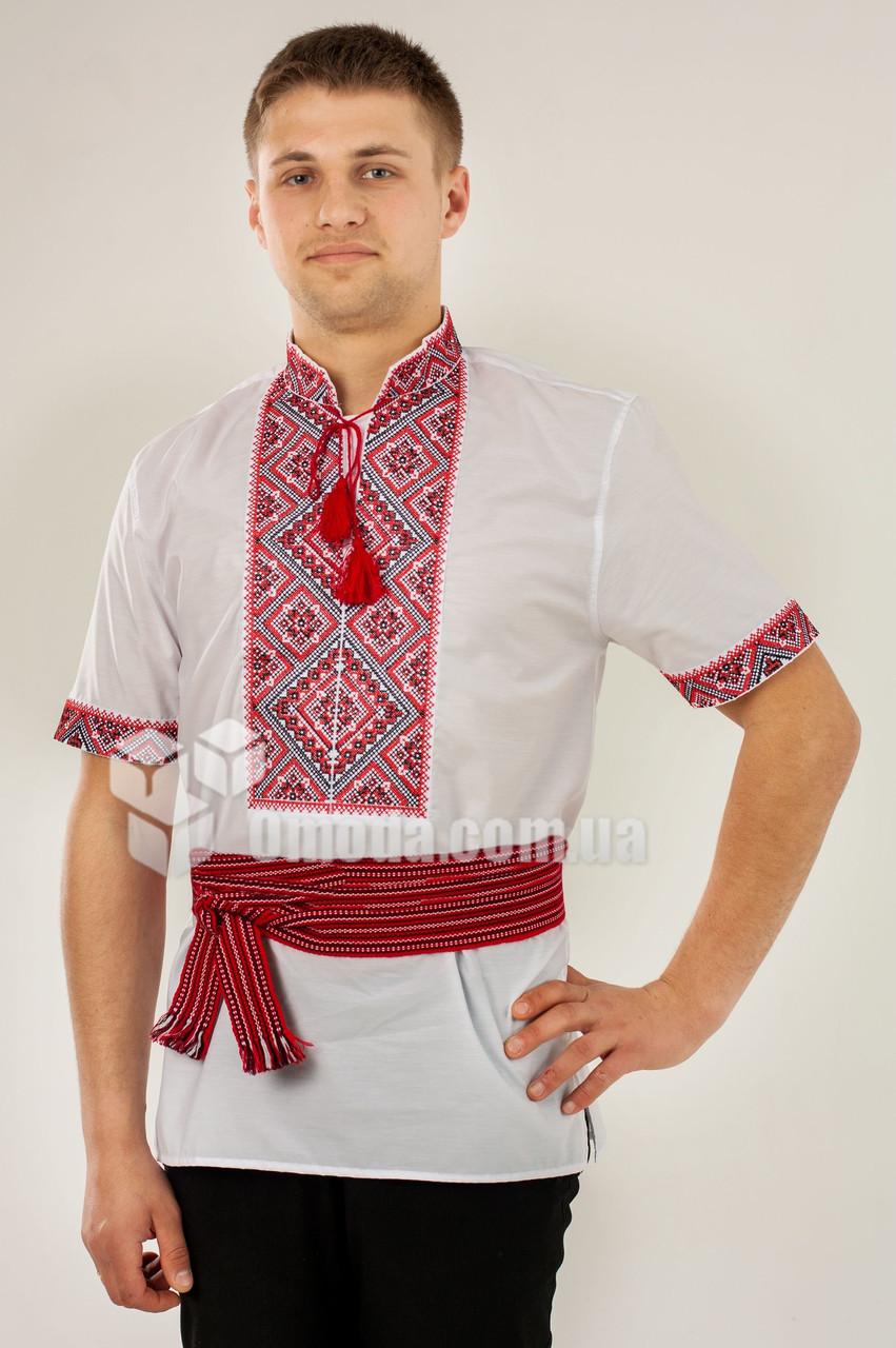 Вышиванка мужская Федор красный короткий рукав