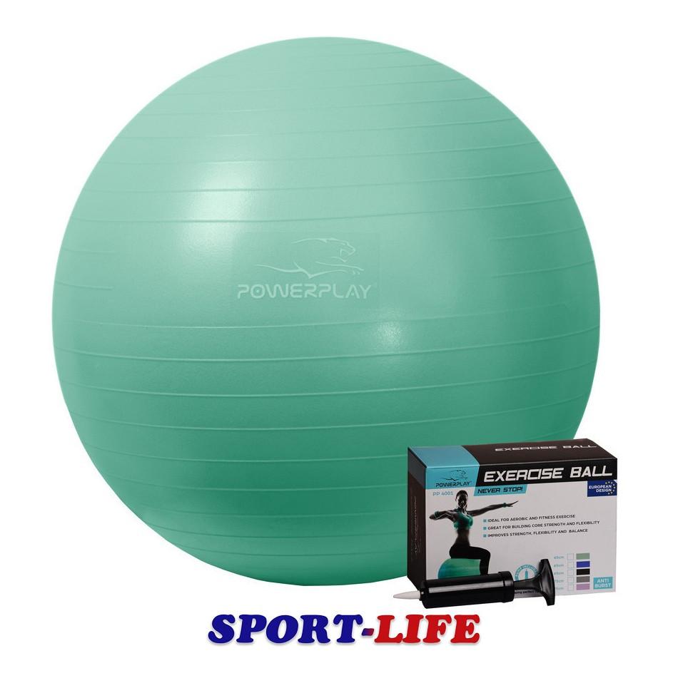 Мяч для фитнеса PowerPlay 65см + НАСОС Мятный, Синий, Черный