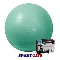 Мяч для фитнеса PowerPlay 65см + НАСОС Мятный, Синий, Черный, фото 1
