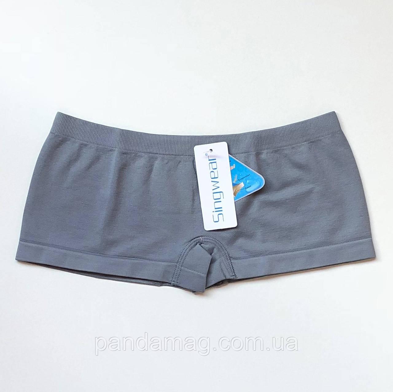 Трусики женские шорты бесшовные серый