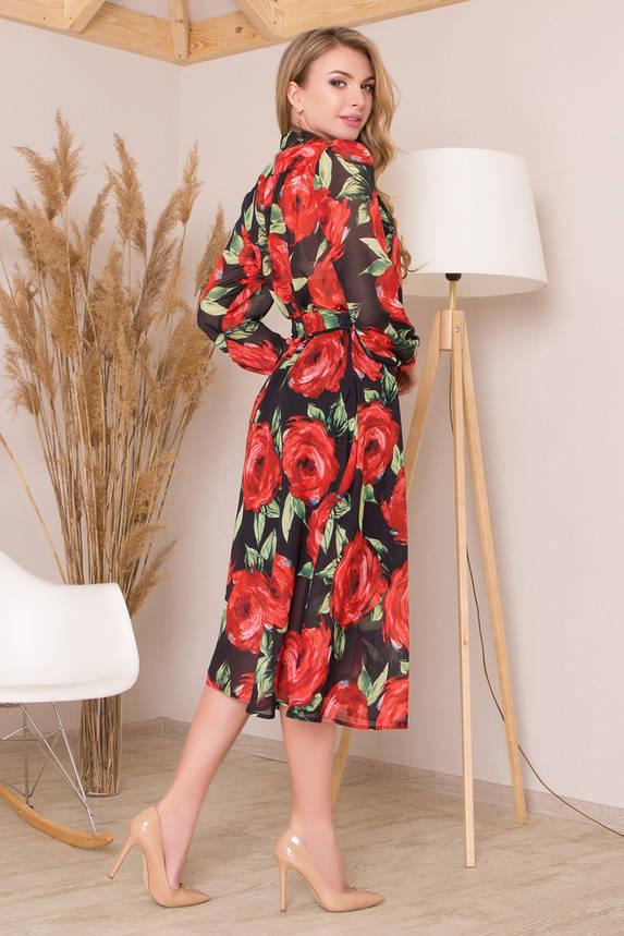 Шифоновое платье миди с цветочным принтом красное, фото 2