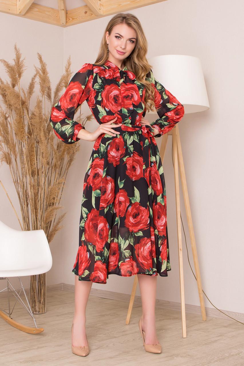 Шифоновое платье миди с цветочным принтом красное
