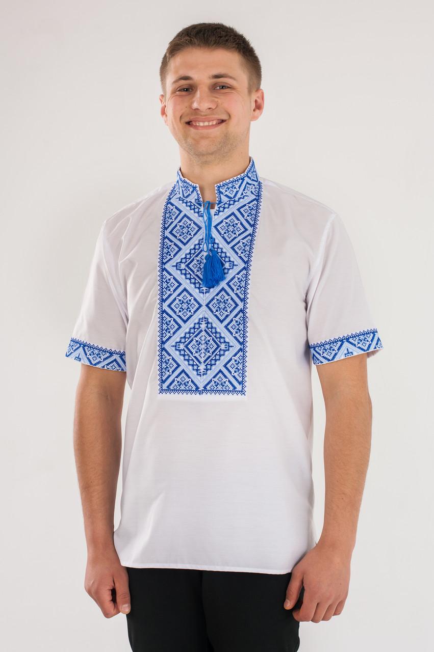 Вышиванка мужская Федор синяя короткий рукав